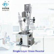 Reactor de vidrio de una sola capa, uso de laboratorio, reactor de biorreactor1L