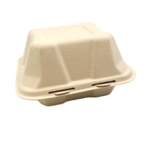 Green Natural Healthy Bagasse Food Boxes Biodegradable Clamshell Containers With Hinged Lid