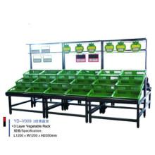 Estante de exhibición de frutas y verduras de supermercado de acero inoxidable
