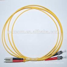 LC / ST Simplex SM Fibra óptica Patch Cord con Reb y Negro olor Boot