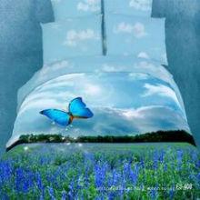 Grupo 100% do cobertor da folha de cama do algodão grupo impresso reativo da sala da cama 3D