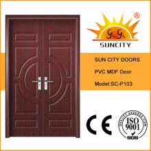 Double Leaf Front Door MDF Door Design (SC-P103)