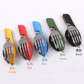 Folding knife&fork&spoon cutlery set Outdoor camping multifunction cutlery tools Portable Splittable Stainless steel picnic tabl