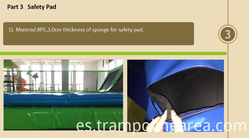 Safety pad of flight trampoline park