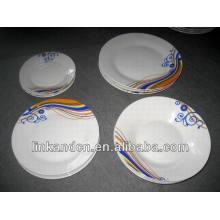 Haonai 18pcs western style porcelain dinner plates set