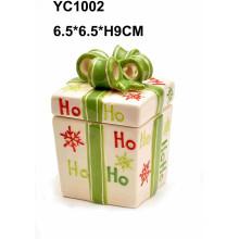 Caja de regalo pintada a mano de Navidad