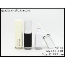 Nueva llegada labio cuadrado plástico brillante tubo AG-YX-LPG01, empaquetado cosmético de AGPM, colores/insignia de encargo