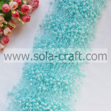 Light Blue 3+8MM Faux Pearl Trimming Beaded Garland For Decoration