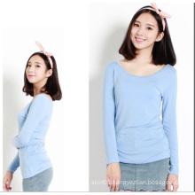 Woman Clothes 2015 Long Sleeve Women Plain Cotton Blouse