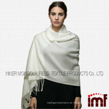 Clássico branco Tassel lã e caxemira cachecóis Pashmina, longo Tippet