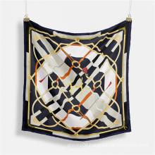 Best Selling Elegant Women Twill Silk Neck Scarf Bandana Spring Luxury Square Hair Wraps Hijab Scarves 53cm