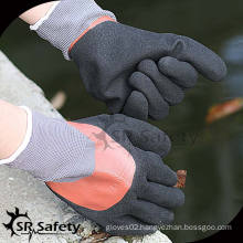 SRSAFETY 15G knitted nylon 3/4 double coated machinery for nitrile gloves
