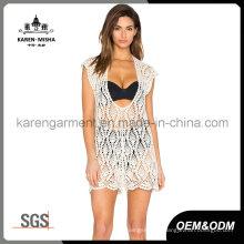 Women Crochet Halter Neck Sheer V Neck Plunge Dress