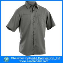 Camisas uniformes do coordenador cinzento do algodão do desgaste do trabalho da luva dos homens