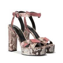 Platforms Snake Black Shoes High Heel Cork Wedge Sandals for Prom