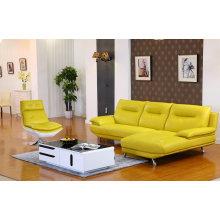 Lemon Color Modern Genuine Leather Sofa (M612)
