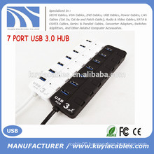 High Speed 7 port USB 3.0 Hub Support 5 Gb/s Single on/off Compatible with USB3.0/USB2.0/1.1