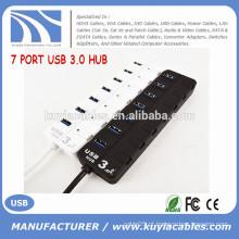 Alta velocidade 7 portas USB 3.0 Hub Suporte 5 Gb / s Único ligado / desligado Compatível com USB3.0 / USB2.0 / 1.1