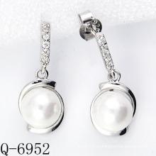 2015 Los últimos estilos cultivaron los pendientes de la perla plata 925 (Q-6952)
