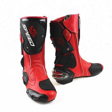 Bottes de motocyclisme d'hiver de motocyclette demi-bottes en cuir de route