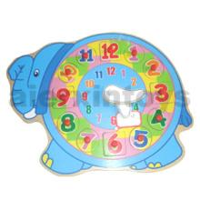 Wooden Elephant Clock Puzzle (80903)