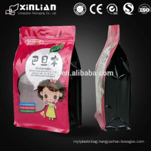 snack food plastic block bottom zipper bag , stand up pouch