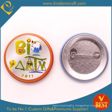 Bio Party Tin Button Badge with Safety Pin in Zinc Alloy