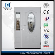 Половина Mother and Son Steel Prehung Наружная входная дверь-створка Стальная дверь с боковой подсветкой и небольшим овальным дизайном с закаленным стеклом