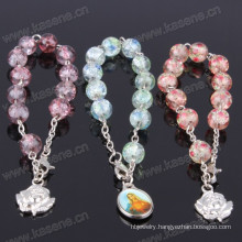 8mm Multicolour Glass Beads Charm Christian Bracelet