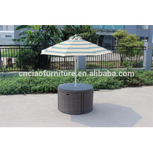 Round patio dining set with umbrella
