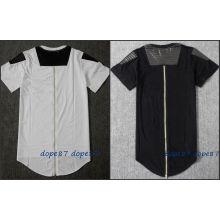 Black Long Zipper T-Shirt Leather Patchwork
