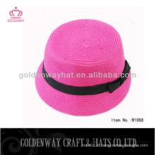 Chapeau de fête rose pour femme avec ruban