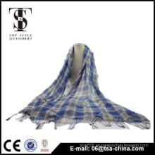 Nueva bufanda 2015 del mantón del tartán del mantón de la bufanda de las borlas del enrejado del algodón de las mujeres 2015