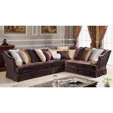 Sofá seccional de la parte posterior del camello tradicional del paño del chocolate para la sala de estar