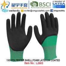 13G poliéster Shell espuma de látex guantes de 3/4 recubiertos (L2603) con CE, En388, En420, guantes de trabajo