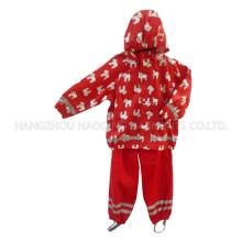 Red Hooded Cartoon PU Rain Jacket/Raincoat