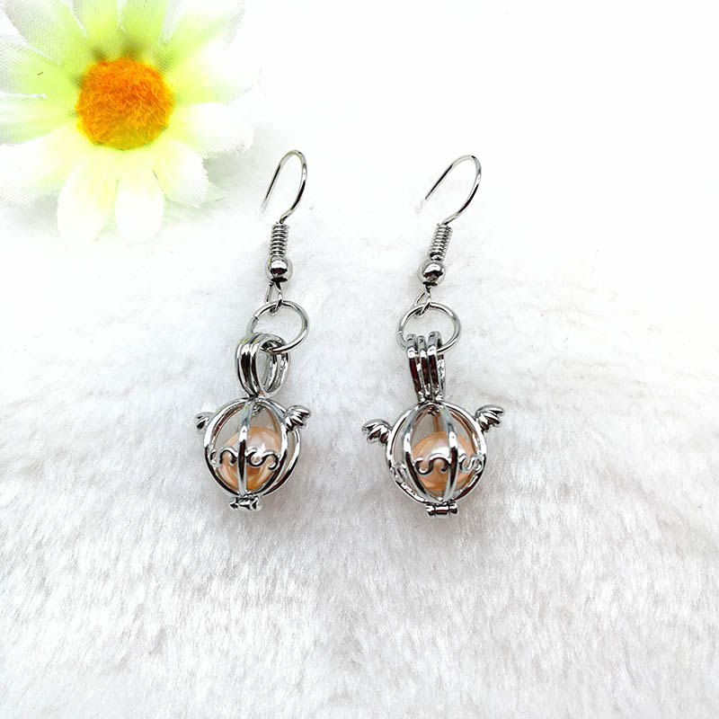 Pearl Bead Cage Charms Earrings