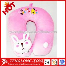 Stuffed cute rabbit shaped pillow pink plush rabbit neck pillow