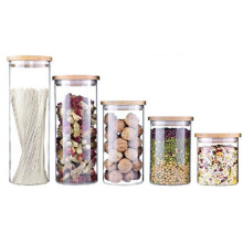 Transparent Glass Jars with Bamboo Lid