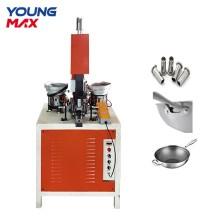 Máquina remachadora automática de utensilios de cocina de olla de sartén de aluminio