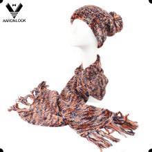 Lady's Dyed Espaço Multicolor Knitted Set Lenço e Chapéu