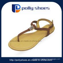 Sandale d'exportation d'usine à l'Inde Sandales plates de dames de mode