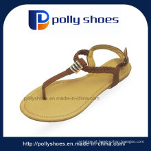 Sandália da exportação da fábrica à sandália lisa das senhoras da forma de India