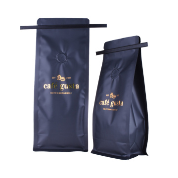 matt black coffee bag dengan valve tin tie