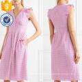 Вышитые хлопка без рукавов розовый Раффлед V-образным вырезом летнее платье Производство Оптовая продажа женской одежды (TA0303D)