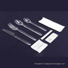 Transparent plastic cutlery set with napkin/salt&pepper sachet/wet napkin/toothpick