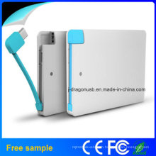 2015credit Card Size Power Bank with Built in Charge Cable Slim Power Banks Made in China