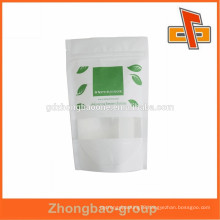 hot sales!!! high quality colorful Biodegradable Ziplock rice paper bag with clear window for tea/coffee