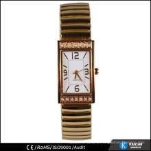 Relógio de ouro da banda de expansão inserções de bisel, relógio de mão de moda feminina