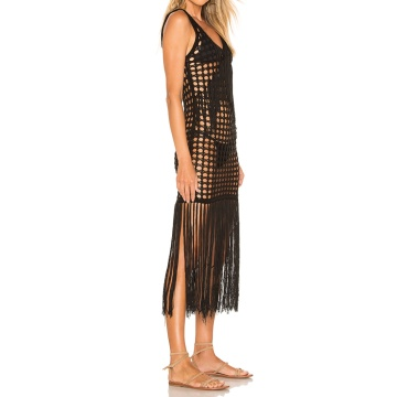 Crochet Fringe Hem Maxi Dress Summer For Women